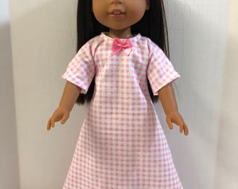 "Wellie Wishers Like 14.5 inch Doll Clothes, Flannel ""White with PINK PLAID"" Nightgown, Fits 14"" Dolls like AG Wellie Wishers Doll Clothes"