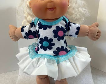 "Cabbage Patch 14 inch BABY or Smaller 14 inch Doll Clothes, Pretty ""PINK and Blue FLOWERS"" Ruffle & Lace Trim Dress, 14 inch Doll Clothes"