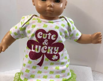 "15 inch Bitty Baby Clothes, Cute ""SPARKLING SHAMROCK - Cute & LUCKY"" St. Patrick's  Dress, 15 inch Ag Doll Bitty Baby Clothes, Hearts too!"