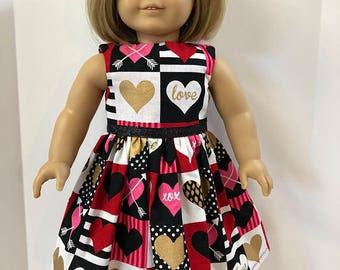 "18 inch Doll Clothes, ""VALENTINE Shiny-Golden Hearts"" Dress, 18 inch AG Doll, Heart Dress w/Sparkling Ribbon, 'Love- XOXO & Pink-Red Hearts!"