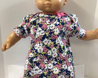 "15 inch Bitty Baby Clothes, Super Pretty ""Pink, Blue and White FLOWER"" Dress with Pink Bow & Lace, 15 inch AG Doll Bitty Baby or Twin Doll"