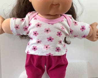 "Cabbage Patch Doll 16 inch Doll Clothes, Pretty Pink ""FLOWERS - DAISY"" Top, Pink Pants, 16 inch Cabbage Patch Clothes"