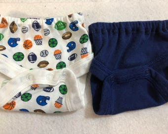 Baby Doll Diaper Covers, Panty, 15 inch AG Bitty Baby Clothes or Twin, Fits 16 inch Cabbage Patch Doll, SET of 2 for 3.00, SPORTS & Navy