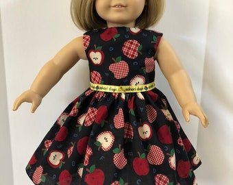 "18 inch Doll Clothes, Adorable ""SCHOOL DAYS"" Apples & Alphabet Dress, 18 inch American Doll Clothes, 18 inch Doll Dress, Back to School Fun!"