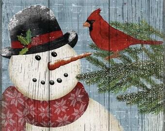 Monogrammed Joy To The World Snowman with Cardinal Winter Garden Flag