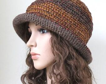 Brown Brim Hat, Crochet Floppy Hat, Boho Fashion, Unique Crochet Bucket Hat