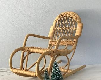 mini wicker rocking chair vintage rocking chair wicker plant holder vintage plant holder