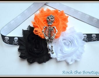 Skeleton Headband, Halloween, Punky, Skull and Crossbones Headband, Skull Headband for Newborn, Baby, Toddler, Kids, Teens, Adults