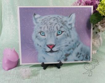 Colorful Snow Leopard Original Art Print