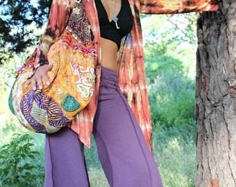 BANJARA BEACH BAG, boho sack bag, slouch shoulder bag, festival handbag, hippie shopper bag,bohemian hobo bag embroidered tassles banana bag
