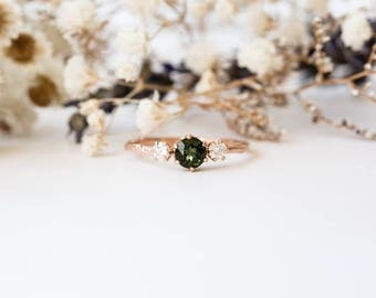 Tourmaline and moissanite gold twig engagement ring, twig nature moissanite ring, three stone ring, 14k gold engagement ring tourmaline