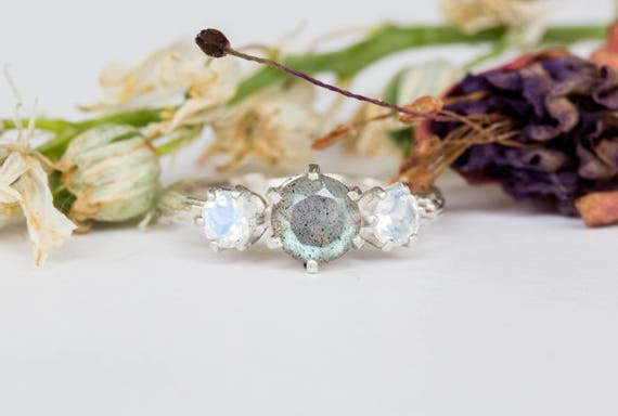 Labradorite moonstone three stone engagement ring, moonstone labradorite twig engagement ring, twig ring