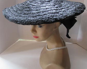 Black Straw Hat Pancake Style Hat Wide Brim Hat Mid Century Fashions Gros Grain Ribbon New Look Fashions Jean Allen Hat Style by Gage