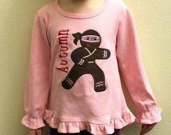 Girl's Christmas Shirt with Holiday Ninjabread Gingerbread and Embroidered Name