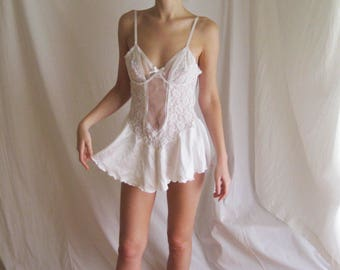 80s Lace and Satin Babydoll M