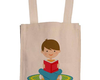 Personalized Canvas Book Bags With Gusset - Canvas Tote Bag - Kids Book Bag - Custom Book Bag
