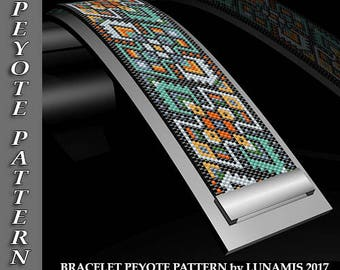 bracelet peyote pattern,  bracelet design, even count, stitch pattern, pdf file, pdf pattern, #142P