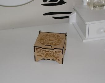 Personalised keepsake laser cut and engraved wooden box.