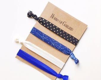 Night Sky set of 4 FOE hair ties - No Crease hair ties - Girls hair ties - FOE hair ties - Hair accessories - Ponytail - Hair Elastics
