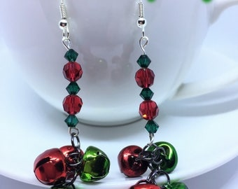 Christmas Earrings made with Swarovski Crystals & multi-coloured fun Jingle Bells Nickle Free silver Plated Stainless Steel XMAS Party Time