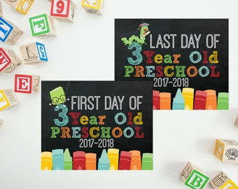 3 Year Old School Printable - Last Day of School Chalkboard - First Day of 3 Year Old Preschool Sign - Print Yourself Back To School Sign