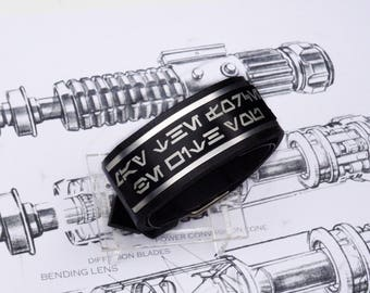 May The Force Be With You Aurebesh  Star Wars inspired leather bracelet wristband armband cuff