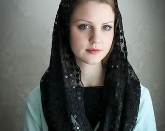 Evintage Veils~ Our Lady of Fatima Black Imported  Lace Chapel Veil Mantilla Infinity Latin Mass