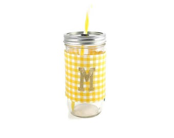 Yellow and White Gingham Mason Jar Tumbler,Monogrammed Tumbler, Gingham Monogram Tumbler, Mason Jar Gingham Tumbler,Unique Gift,Personalized