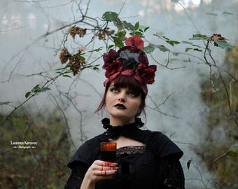 Headdress, tiara, red and black roses, vampire, gothic