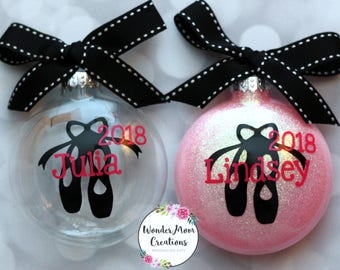 Ballet Shoes Personalized Christmas Ornament; Little Girl Ballet Shoe Ornament; Ballet Dance Shoes Ornament; Ballerina Christmas Ornament