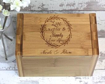 Personalized Recipe Box - Recipe Box - Wood Recipe Box - Farmhouse Wreath - Wooden Farmhouse Decor - Gift Ideas - Recipe Box Wood - Wifey