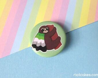 Aromantic Pride Sloth Button