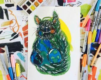 ORIGINAL Fantasy Animal  Watercolor and Fineliner