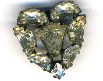 Vintage Heart Pin, Rhinestones