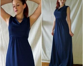 Vintage '70s Dark Blue Maxi Dress, Cowl Neck, Sleeveless, Small