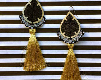 STATEMENT TASSEL EARRINGS in gold, black and silver . Super light weight earrings with a luxurious, metallic gold tassel.