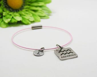 Aquarius Charm Bracelet - Aquarius Bangle - Initial Charm - Astrology Bracelet - Initial Bracelet - Birthday Gift - Zodiac Bracelet