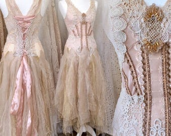Wedding dress fairy blush,bridal gown rose and sand,Vintage inspired wedding dress,Alternative wedding dress,corset wedding dress,lace dress