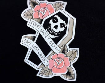 Misfits One Last Caress Tattoo Flash Hand Cut Stickers by Michelle Coffee