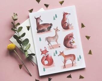 """Grande carte A5 """"Les animaux de la forêt"""""""
