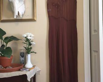 Vintage Brown Floral Sheer Top Dress