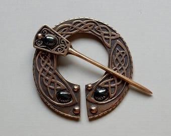 Cloak Clasp - Pennanular Brooch - Bronze with Hematite