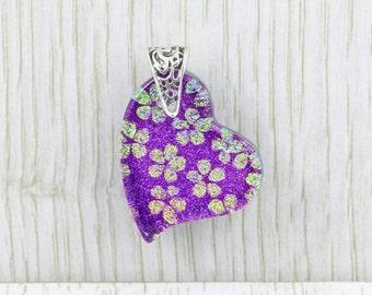 Heart Shaped Fused Glass Pendant - Purple and Gold Jasmine Flowers - Glass Jewellery - Necklace - Fused Glass Jewelry - JBT549