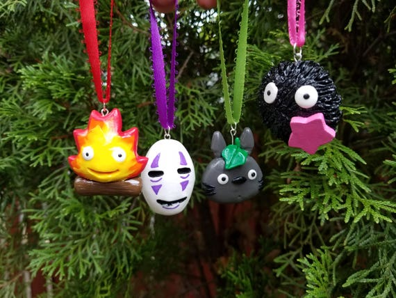 Studio Ghibli Inspired Holiday Ornaments: No-Face, Totoro, Calcifer and Soot Sprite!