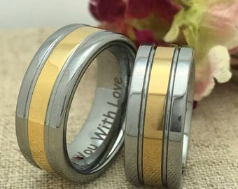 8mm His & Hers Wedding Ring Set, Personalize Custom Engraved Yellow Gold Plated Tungsten Ring, Wedding Rings, Promise Ring, Couples Ring