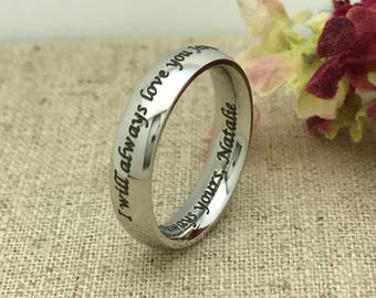 4mm Personalized Titanium Ring, Purity Ring, Custom Promise Ring for Him, Custom Date Ring, Wedding Band, Friendship Ring, Coordinates Ring