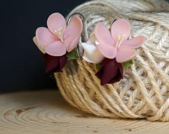 Cherry blossom earrings, dark red rose, Pink Flower, Pale Pink, polymer clay, sakura earrings, romantic gift or her, Bridesmaid, marsala