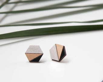 Geometric modern studs, Hexagon wooden earrings, Silver black natural wood / Gold black natural wood color, laser cut, hand painted jewelry