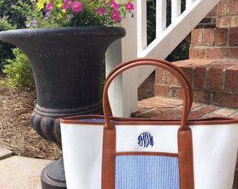 Monogrammed Seersucker Tote Bag- Monogram Canvas Bag- Personalized Canvas Tote
