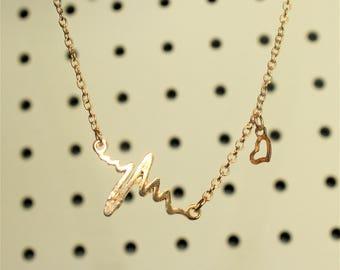 heartbeat necklace, ekg, gift for nurse, heart pulse, gold necklace, heart necklace, gift for doctor, heart rate, nurse jewelry, boho chic,